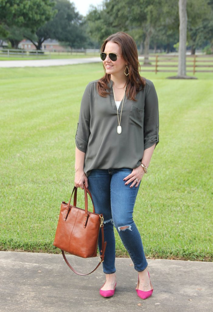 cute fall outfit for weekends with an olive blouse and pink flats.