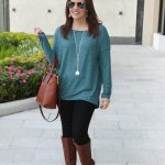 Teal Sweater + Brown Riding Boots