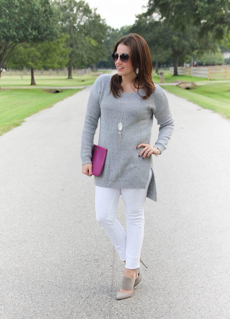 Houston Fashion Blogger wears a neutral winter outfit idea with a gray sweater and white jeans.