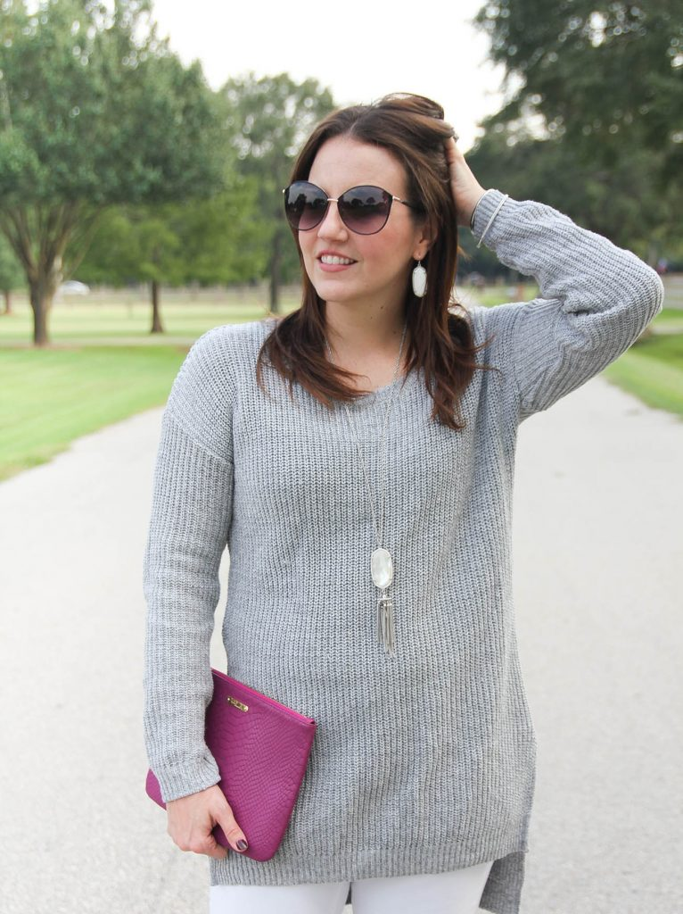 Texas Fashion Blogger styles the bp knit pullover sweater in gray from Nordstrom.