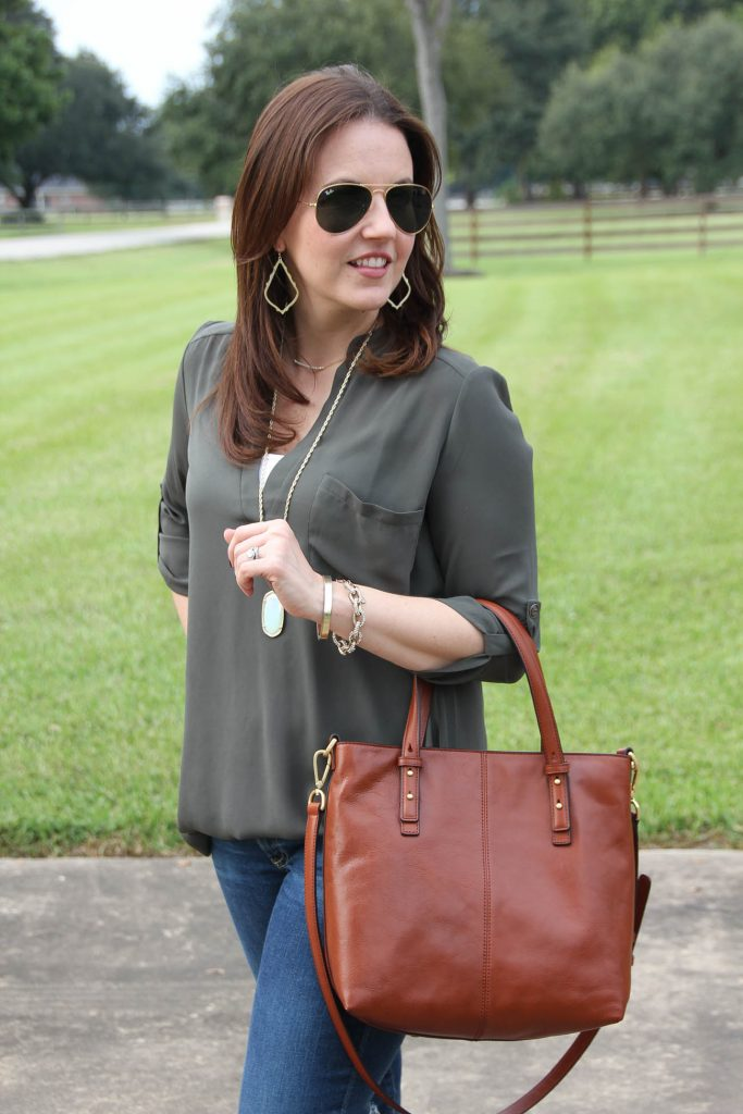Cute brown purse for fall by Vera Bradley.