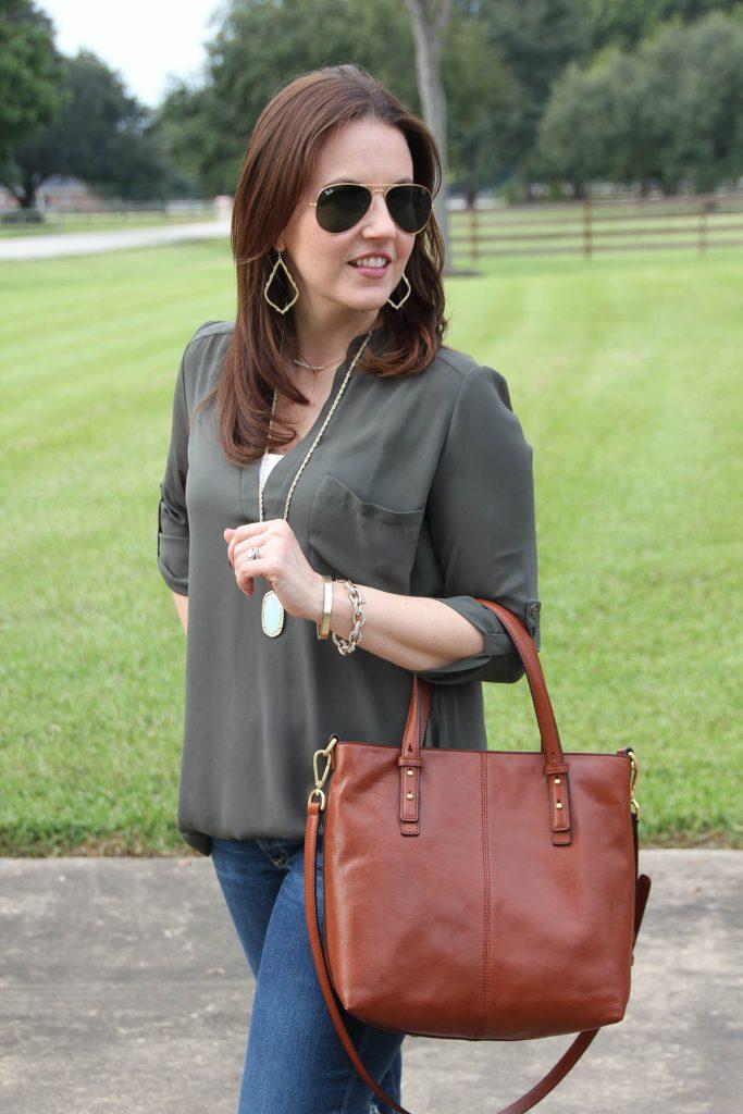 Cute brown purse for fall by Vera Bradley.