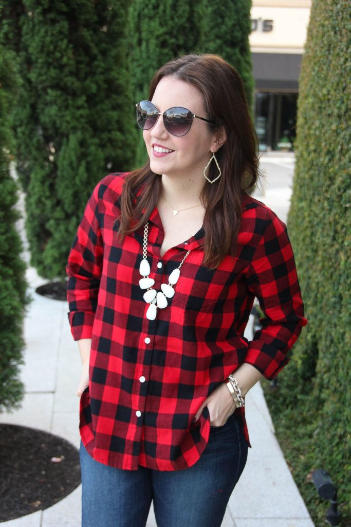 Red and black plaid shirt lady in violetlady in violet for Dark red plaid shirt