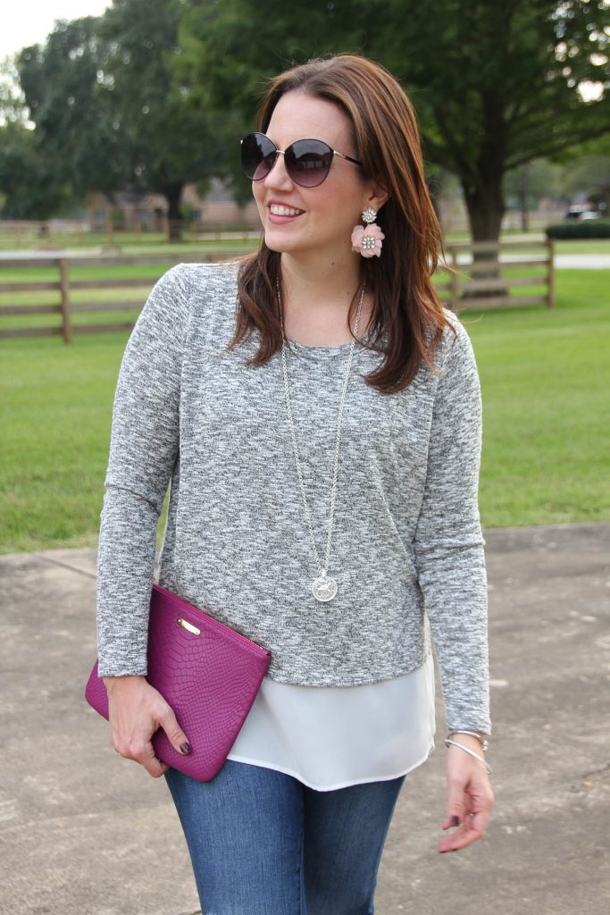 A warm weather fall top idea paired with a Julie Vos necklace.