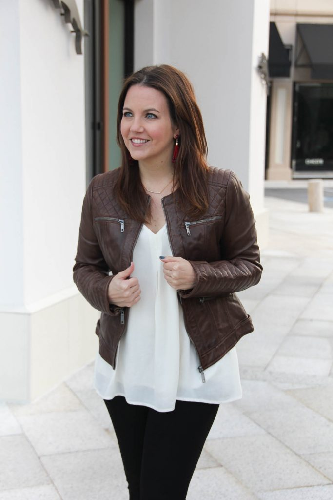 LadyinViolet shares what to wear with a brown leather jacket,