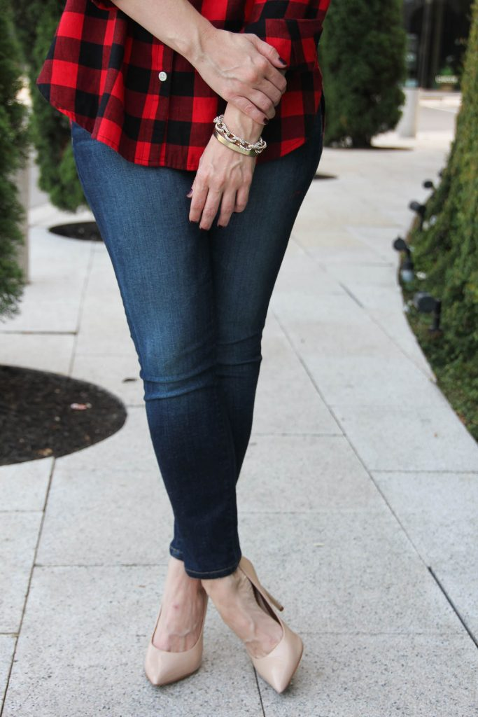 c094f193e66 The perfect dark wash skinny jeans for fall with blush heels.