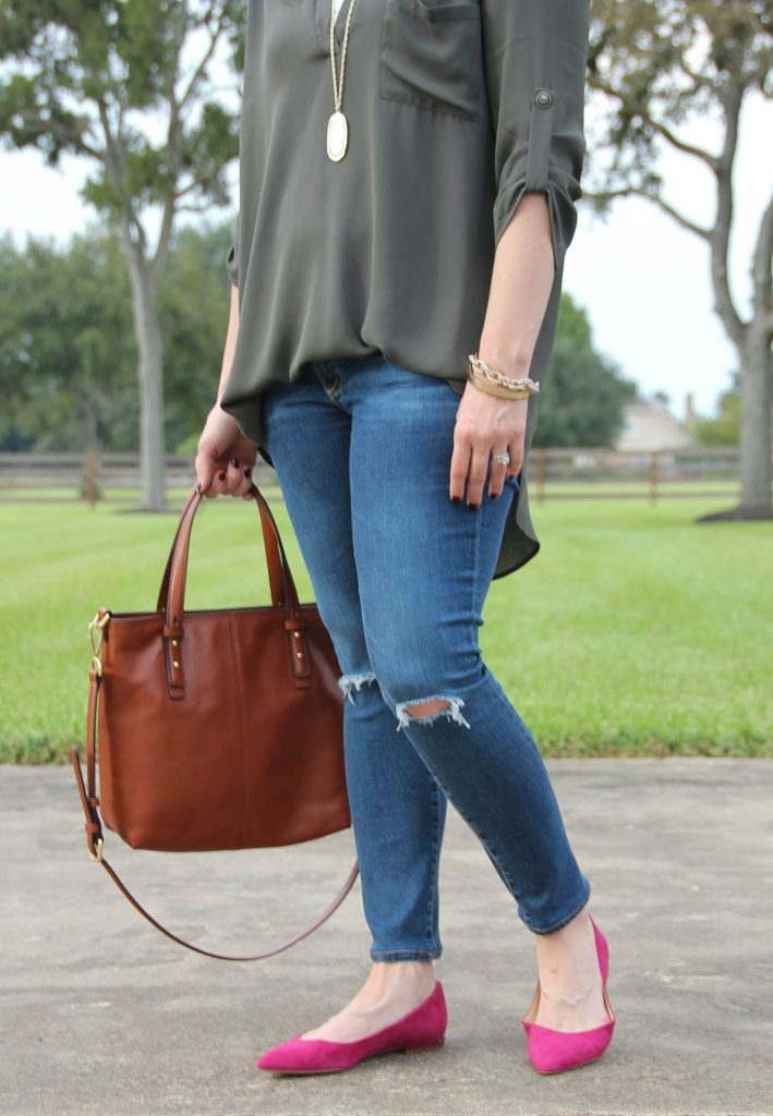 Fall Outfit Ideas with distressed jeans and pink flats.