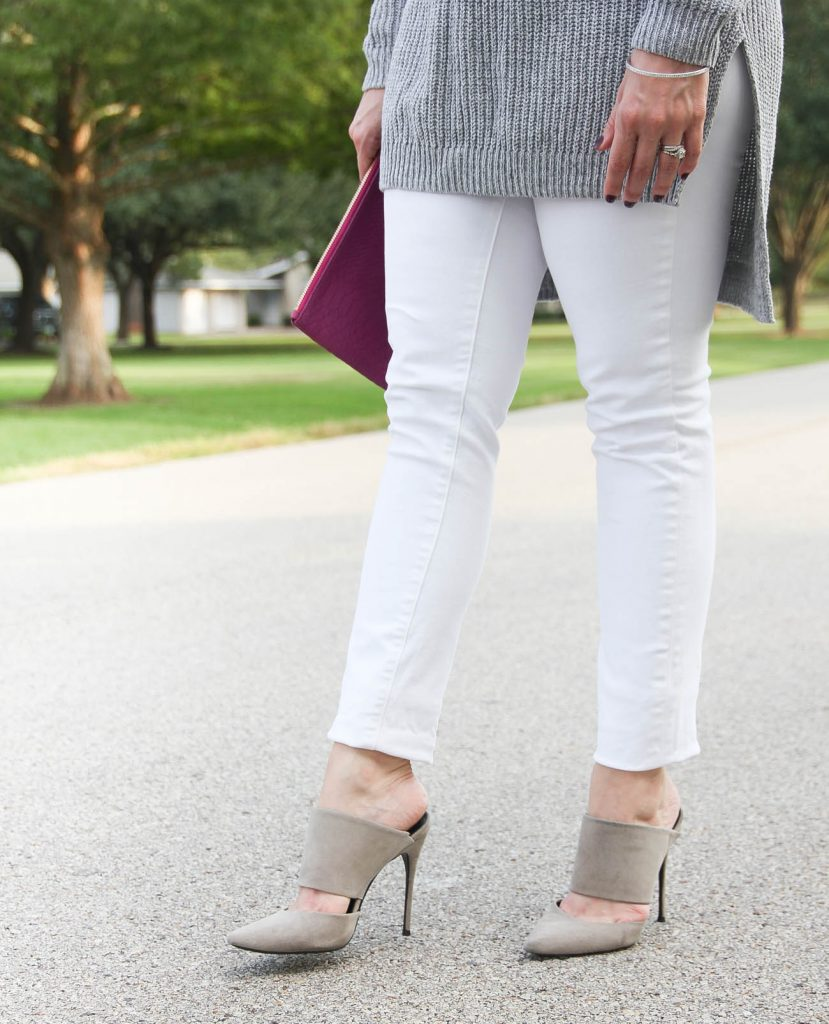 Houston Fashion Blogger, LadyinViolet wears the schutz suede mules with paige white denim.