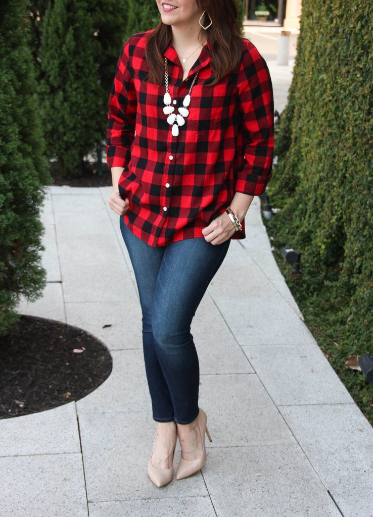 e3587239743 LadyinViolet shares fall weekend outfit ideas with a plaid shirt.  LadyinViolet wears the Kendra Scott Harlie Necklace and an Old Navy Classic  ...