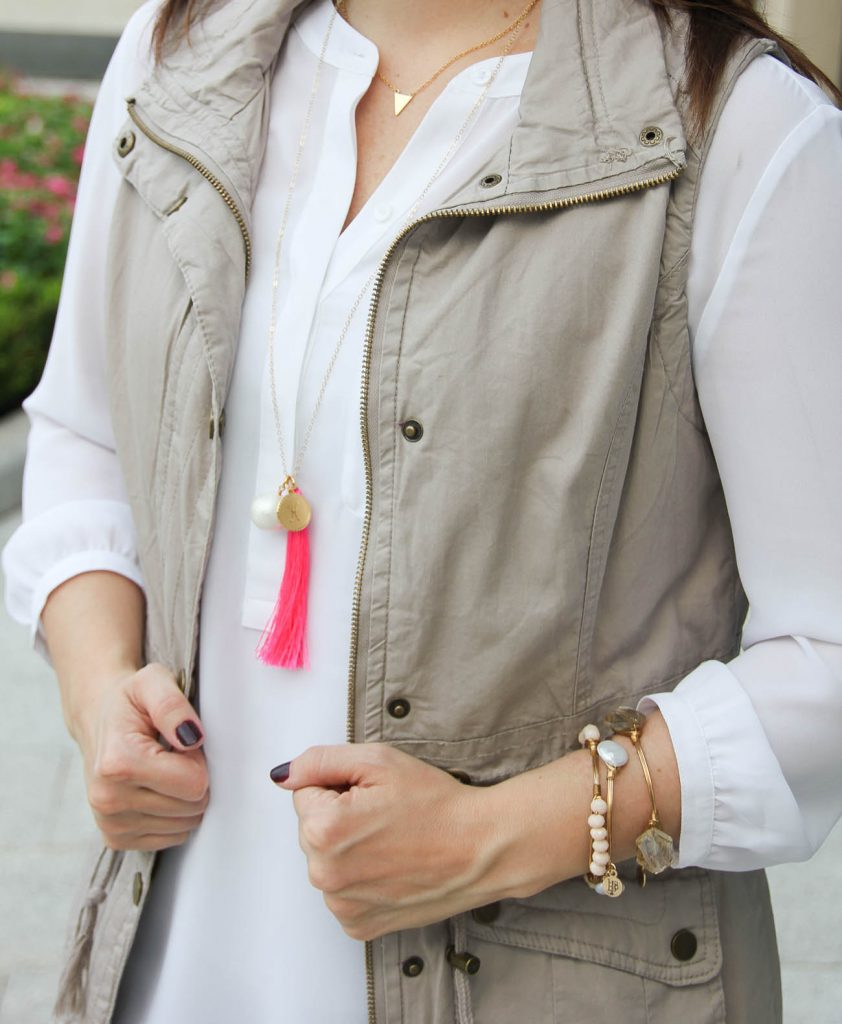 Southern blogger wears bourbon and bowties bangles with the moon and lola charm necklace.