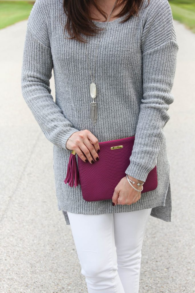 Houston Style Bloggers wear the kendra scott rayne necklace and gigi new york all in one bag in magenta.