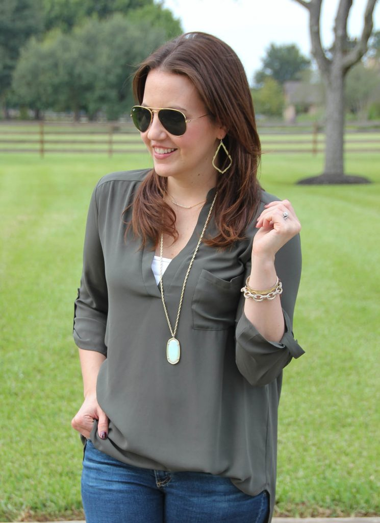 What to wear with an olive blouse in the fall.