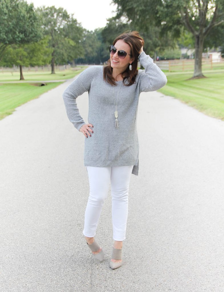 Houston Fashion Bloggers wears a gray sweater with white jeans for a casual friday outfit.