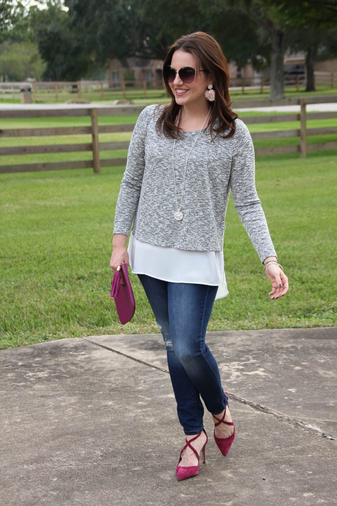 A weekend outfit idea with heels for the fall and winter season.