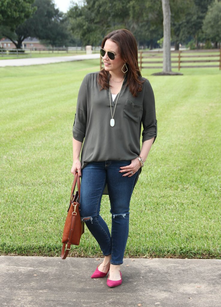 Fall Outfit for casual friday at work including an olive blouse and pink flats.