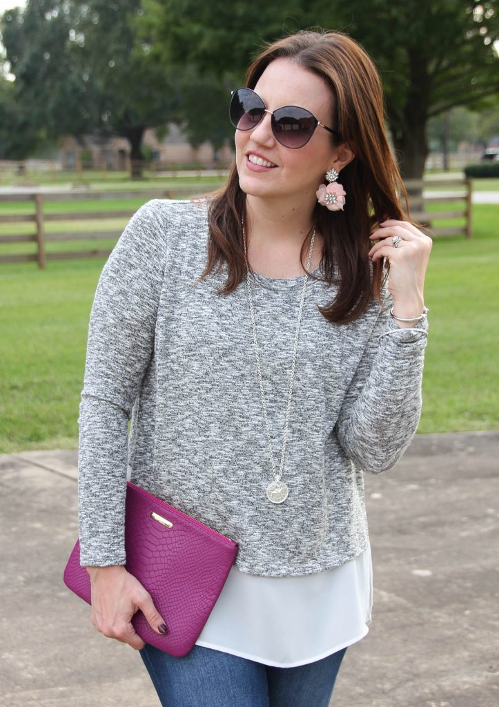 A Nordstrom faux layered sweater for a warm winter outfit idea.