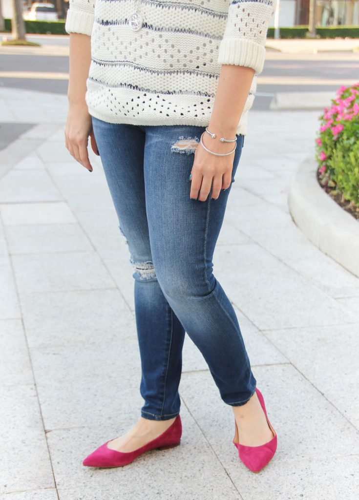 Texas Style Blogger wears the BlankNYC distressed jeans and Sam Edelman pink spiked flats.