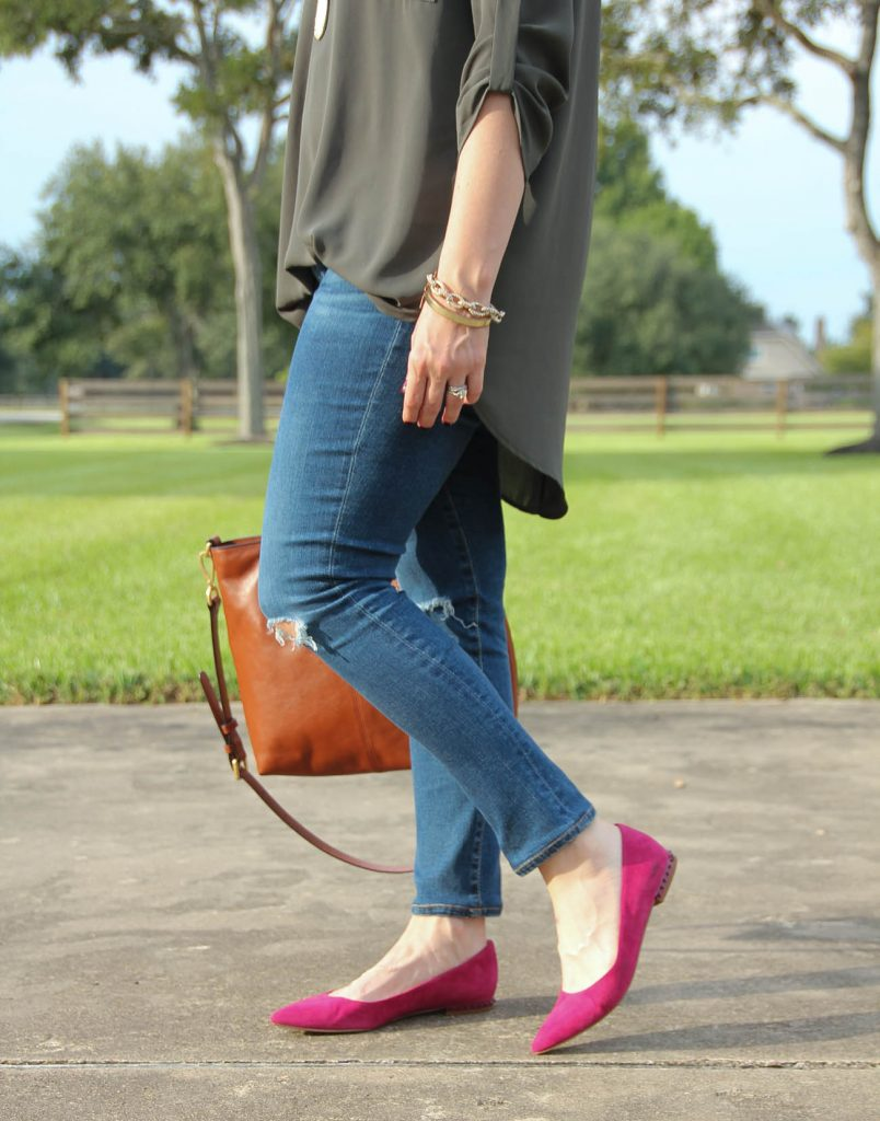 Cute pink suede flats for fall.