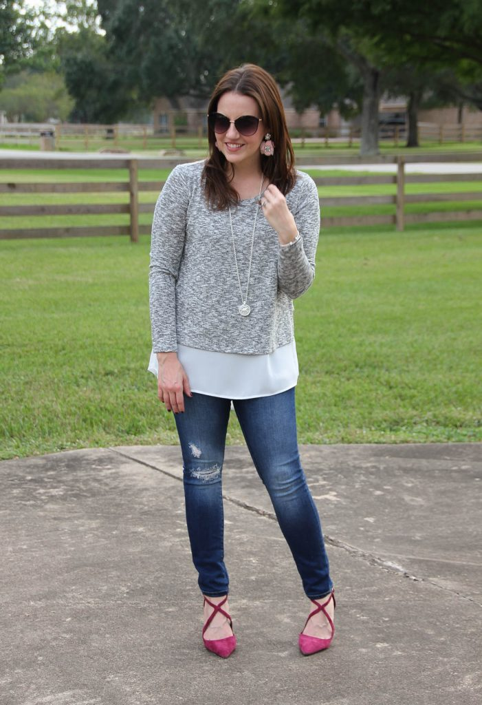 A fall weekend outfit idea including burgundy heels and a layered sweater top.