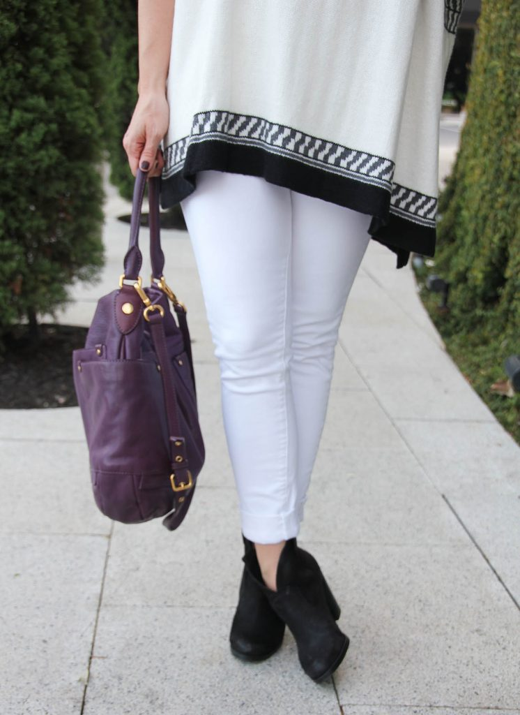 fashion blogger wears paige denim skyline skinny jeans and vince camuto hillsy booties