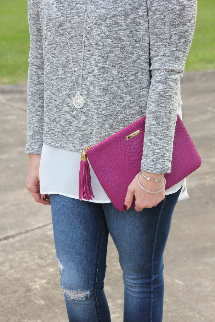LadyinViolet carries the Gigi NY clutch paired with the Gibson layered top for a fall outfit.