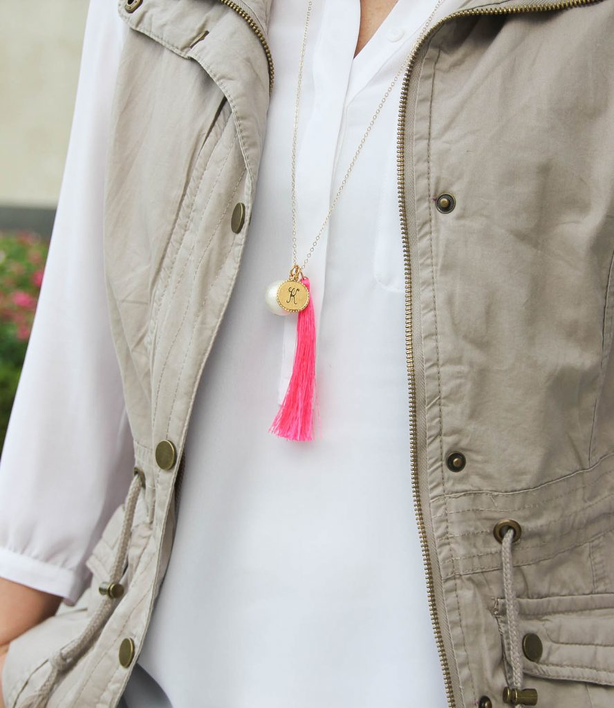 Texas Style Blogger wears the moon and lola monogrammed charm necklace.