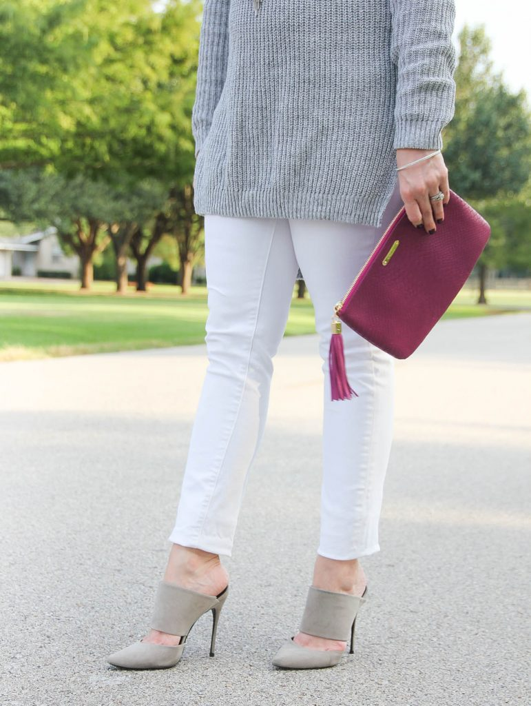 LadyinViolet shares tips on what to wear with white jeans in Fall and Winter.