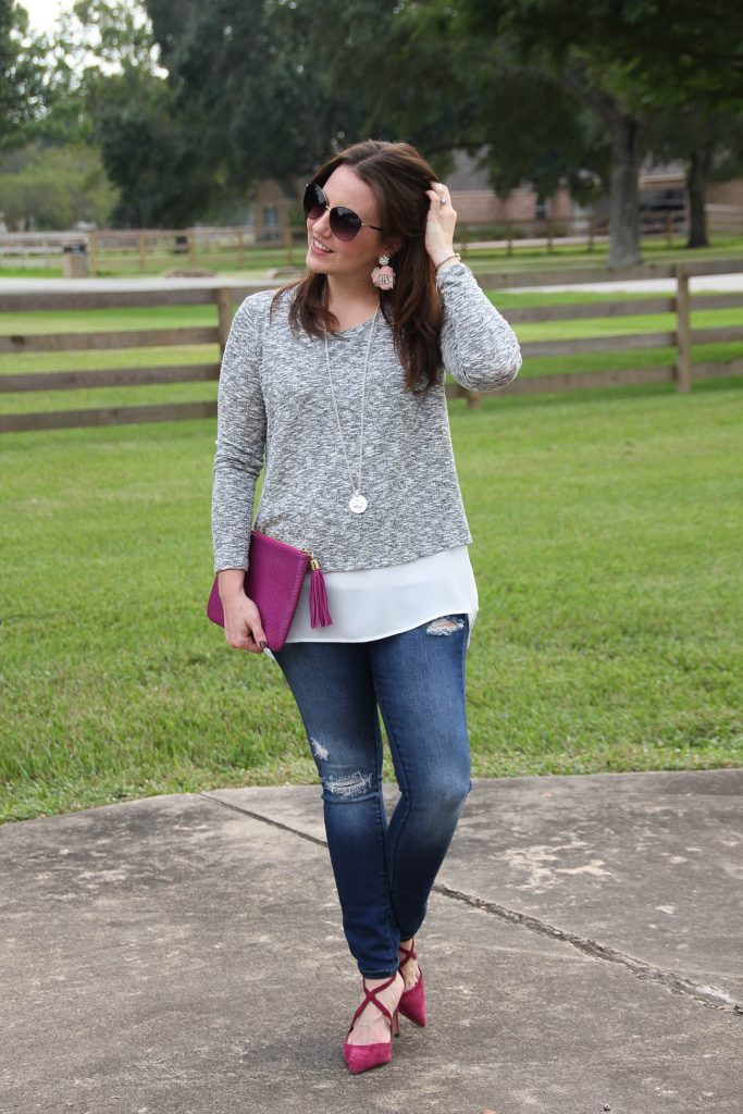 Houston Fashion Blogger wears a casual weekend outfit with distressed jeans and heels.