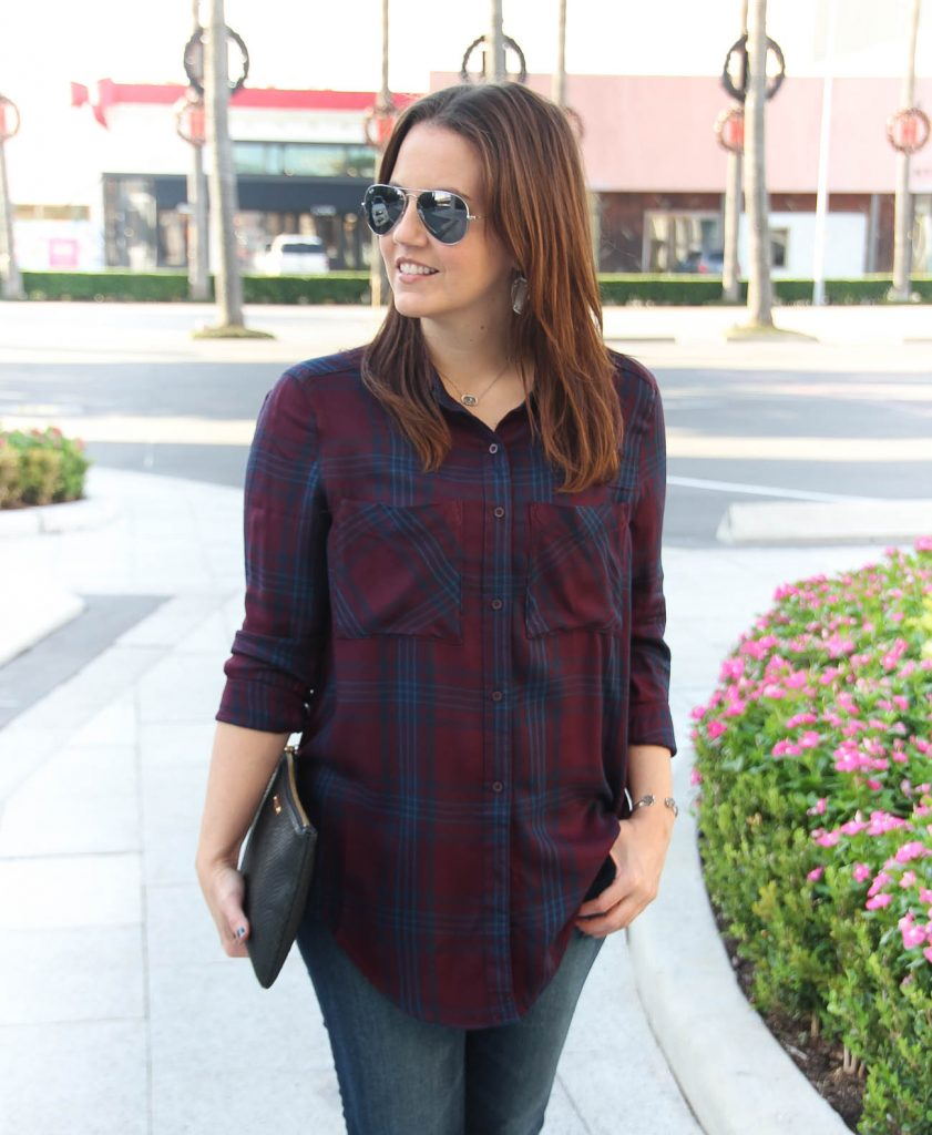 Lady in Violet wears a burgundy and navy plaid tunic from Nordstrom.