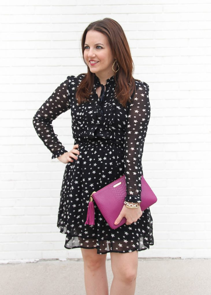 Karen of Lady in Violet wears the Denim Supply star print dress with the Gigi New York clutch in Magenta.