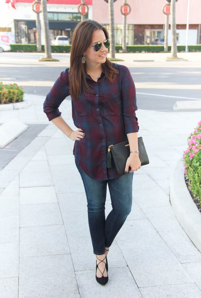 Houston Fashion Blogger shares fall style inspiration featuring a plaid blouse and jeans.