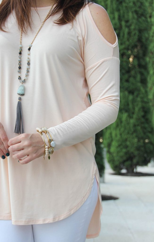 LadyinViolet shares how to wear blush in fall featuring a cold shoulder top.