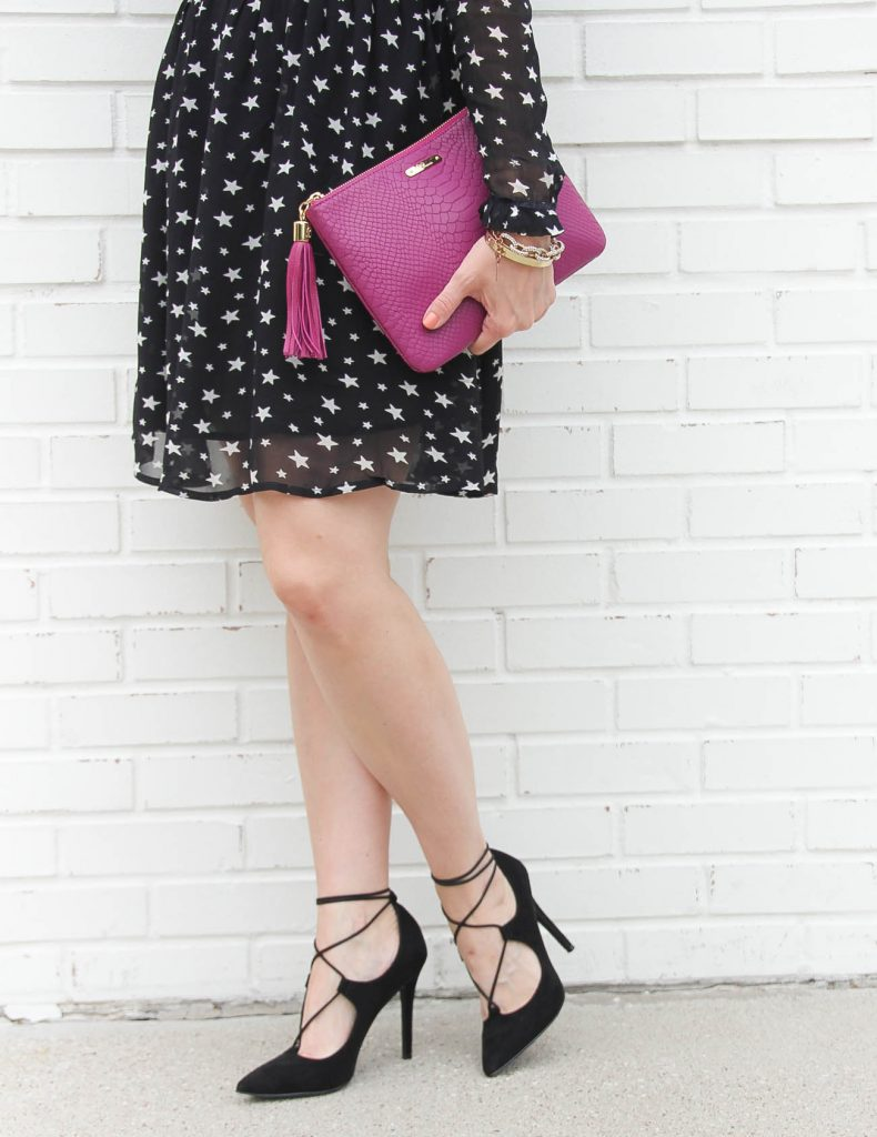 Houston Fashion Blogger, LadyinViolet wears black lace up heels under 100 dollars.