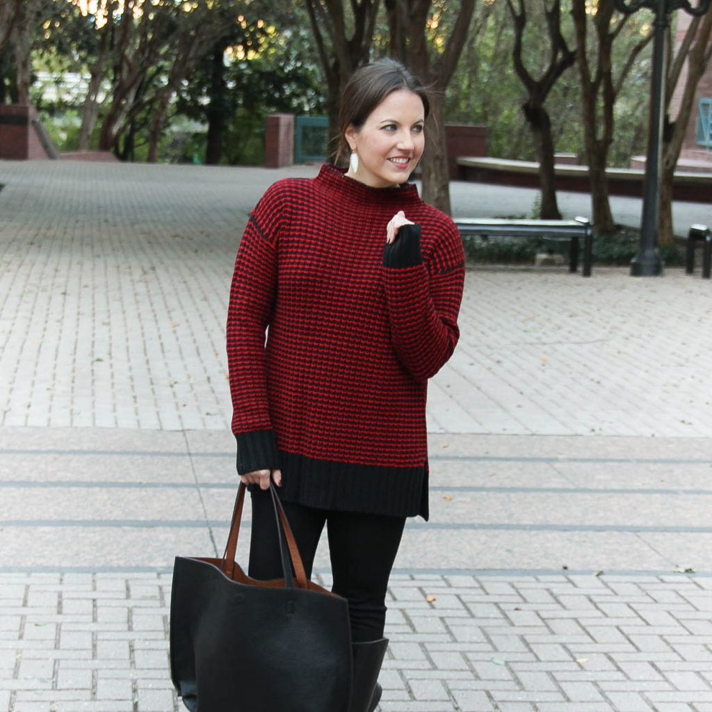 Houston Texas Fashion Blogger wears a Nordstrom red funnel neck sweater by Sanctuary and kendra scott skylar earrings in white.