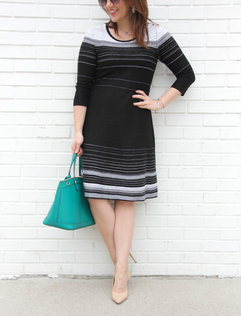 Houston fashion blogger wears a flattering sweater dress for work party.