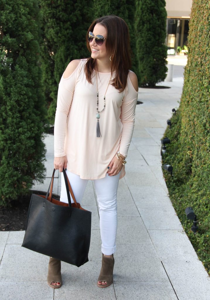 Houston Fashion Blogger wears a fall outfit idea with a blush pink top.