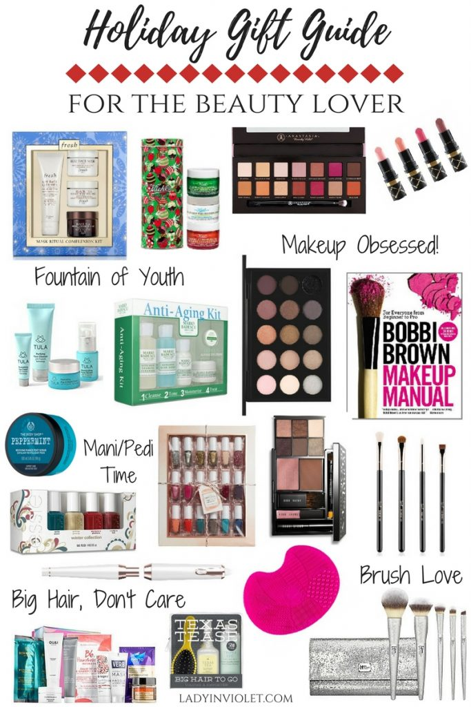 Holiday Gift Guide for the beauty lover including makeup palettes, brush sets, skincare gift sets, nail polish, and hair care products.