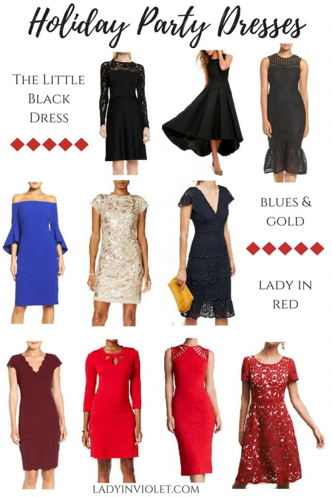 Christmas and Holiday Party dresses featuring dresses in red, blue, gold, and black. Dresses with lace, bell slees,and sparkle.