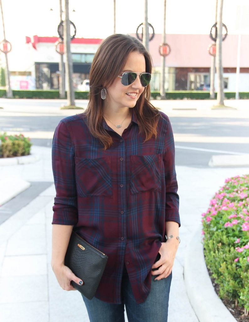 Houston Fashion Blogger, Lady in Violet wears a Nordstrom burgundy and navy plaid tunic and Kendra Scott silver jewelry.
