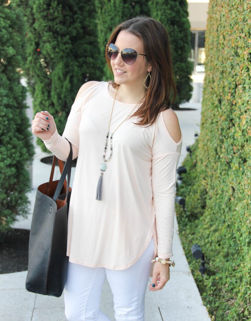 Houston Fashion Blogger, Lady in Violet wears a blush pink cold shoulder top from Nordstrom.