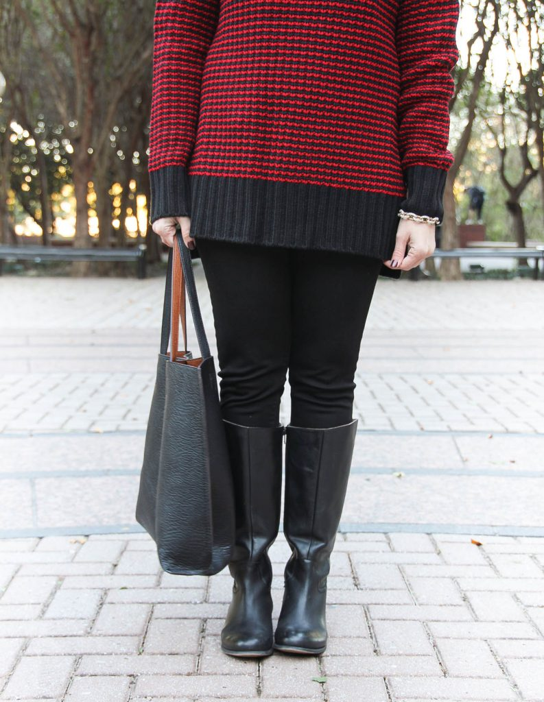 Houston Fashion Blogger, Lady in Violet shares how to wear black skinny jeans in winter with a black tote bag.