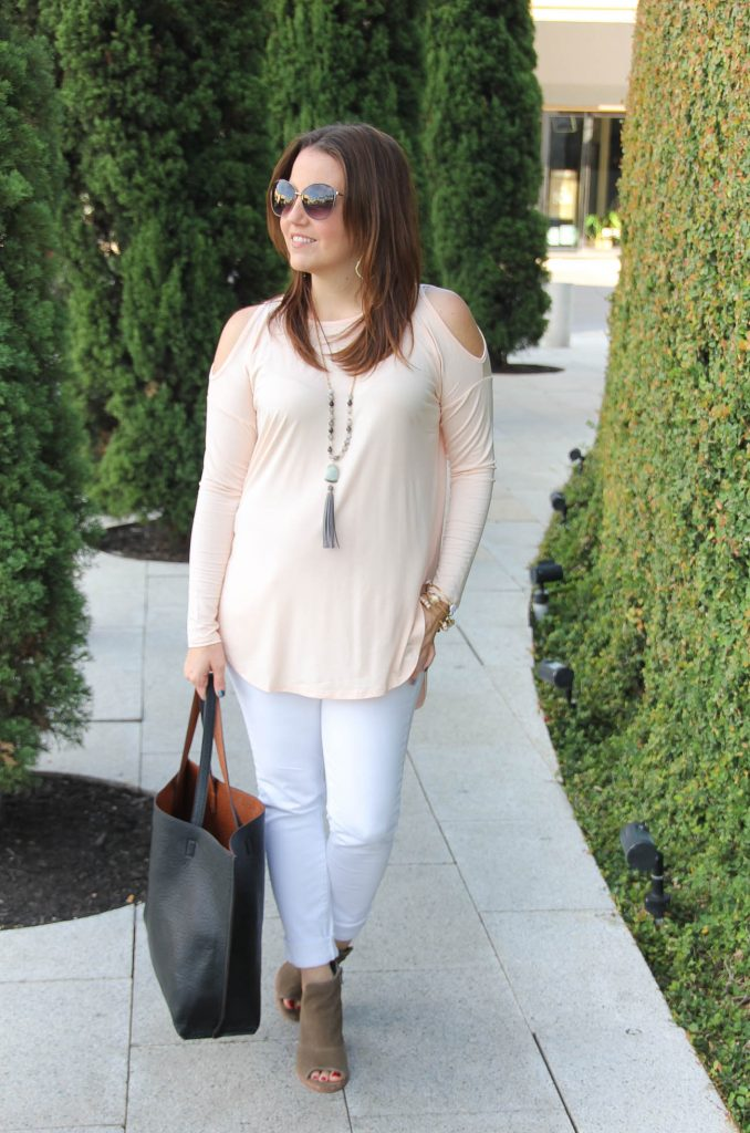 Houston Fashion Blogger shares a weekend outfit idea including a blush cold shoulder top and white jeans.