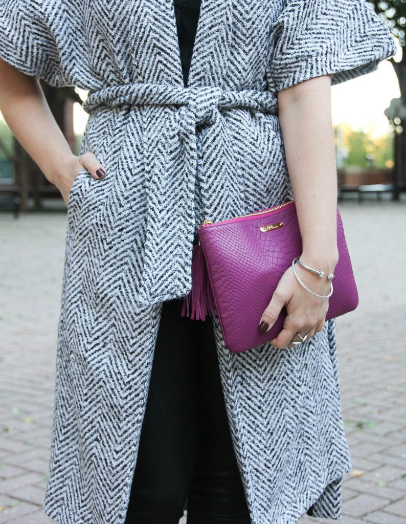 Karen Rock of Lady in Violet styles the Dao Chloe Dao wrap coat with the gigi new york magenta all in one bag.