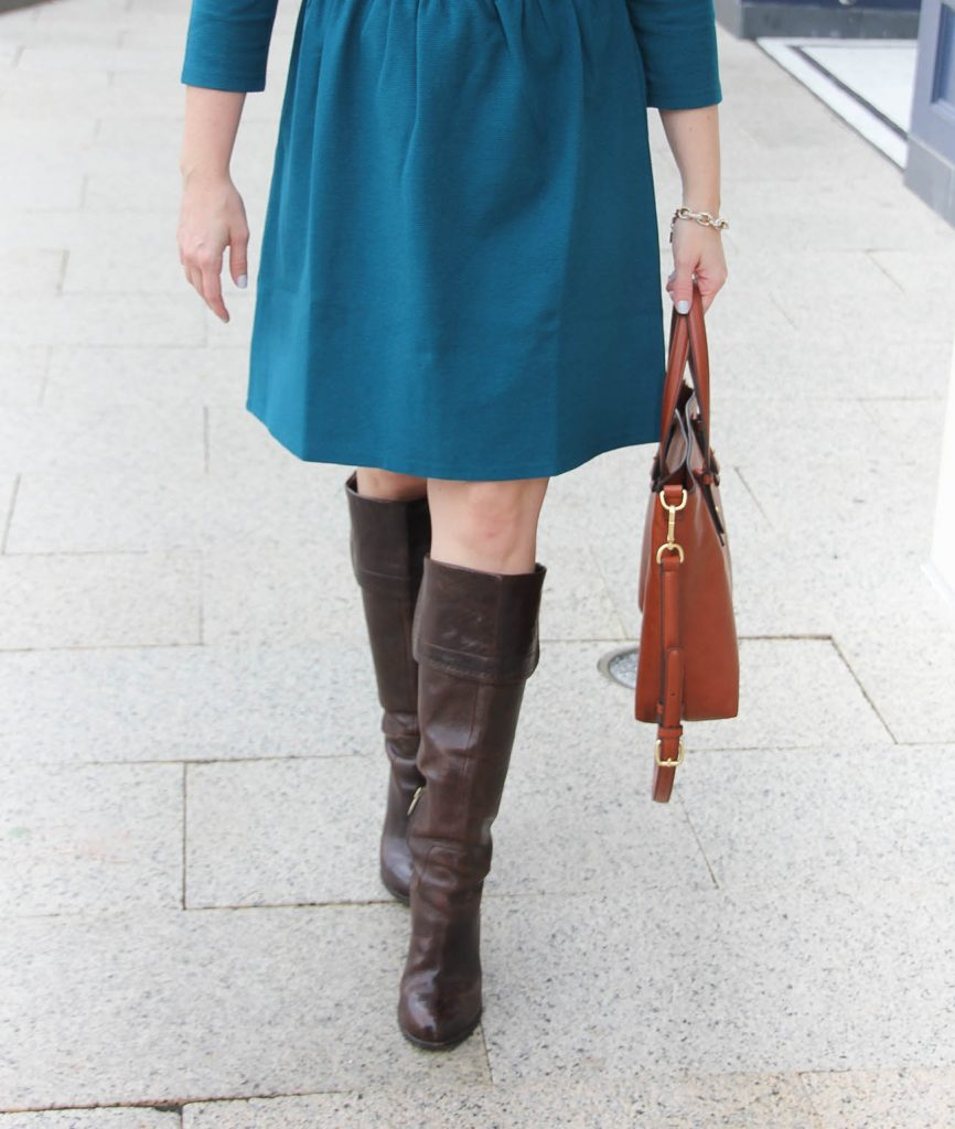 Houston Fashion Blogger Lady in Violet shares how to wear tall brown boots to work with the Vera Bradley Satchel.