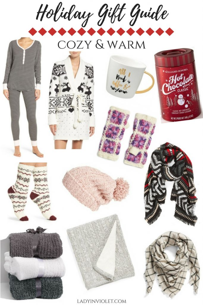 Christmas Gift Ideas for Her featuring items that are cozy, warm and perfect for winter.