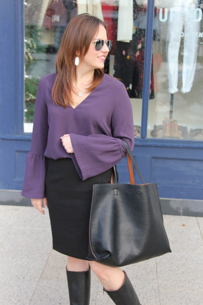 Houston Fashion Blogger Lady in Violet styles work outfit ideas featuring black pencil skirts.