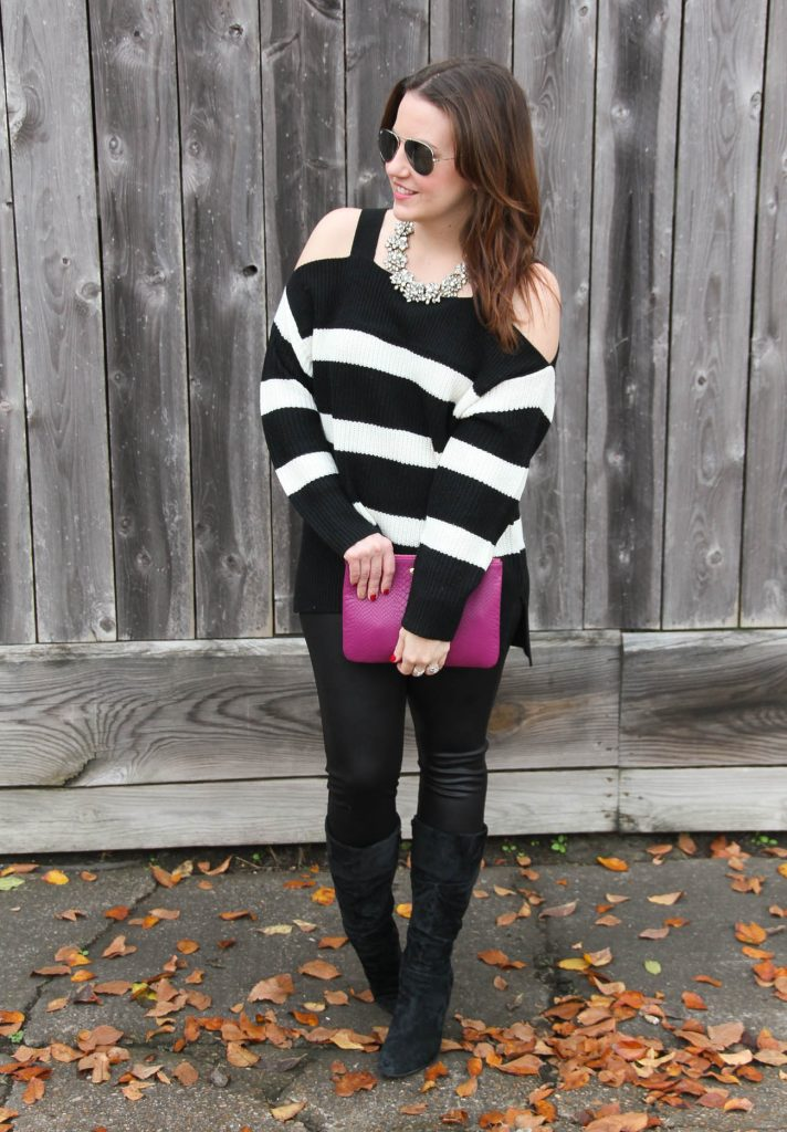 Houston Fashion Blogger Lady in Violet styles a new years eve outfit including a cold shoulder sweater, leather leggings and a statement necklace with suede boots.