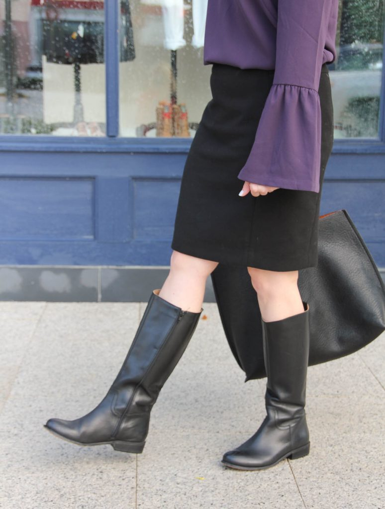 Houston Blogger Lady in Violet wears the Corso Como Black riding boots with a pencil skirt for work.