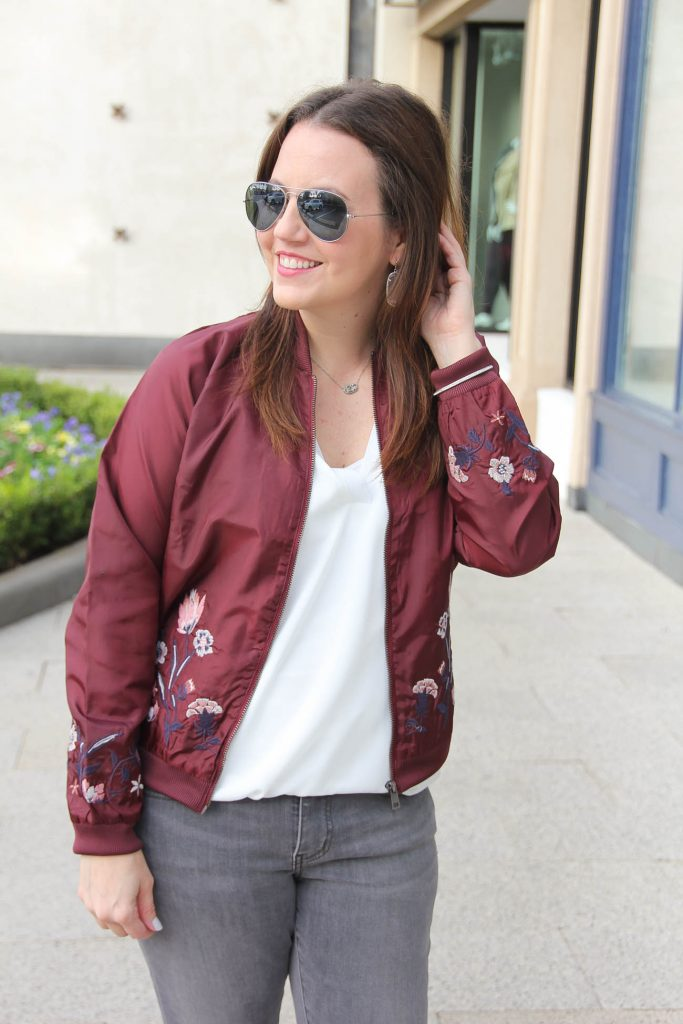 Houston Style Blogger Lady in Violet shares how to wear a bomber jacket for weekend outfit inspiration.