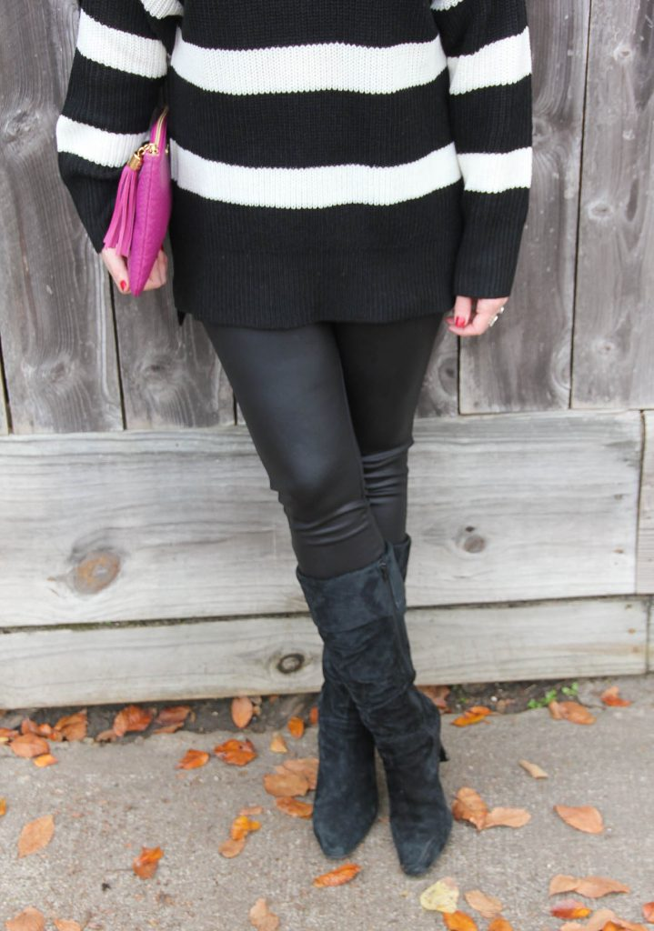 Houston Fashion Blogger Lady in Violet wears the best faux leather leggings under 50 dollars with black suede boots.